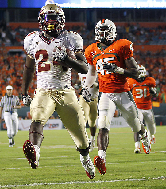 With Florida and Miami ranked higher entering Week 6, Florida State staked its claim to being this year's Sunshine State champion -- and then some. To demonstrate that point, Lonnie Pryor (48 yards, 1 TD) and the No. 23 Seminoles blitzed the Hurricanesa and took another huge step toward winning the ACC's Atlantic Division.