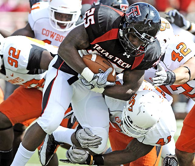 Cowboys receiver Justin Blackmon had a career day, with 207 receiving yards and a score. But even more impressively, Oklahoma State held the Texas Tech offense to 226 passing yards. The result: a 6-0 start for the Cowboys, and their first win in Lubbock in 66 years.