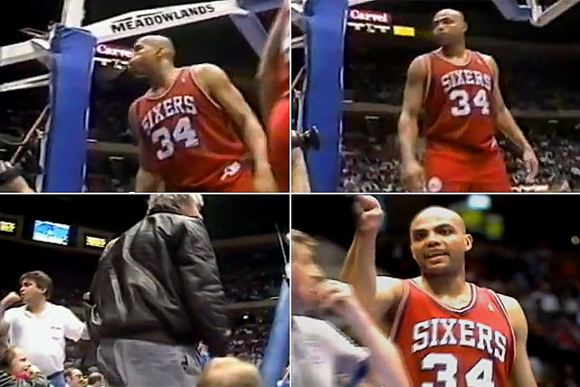 Throughout his 16-year career in the NBA, Charles Barkley was often the subject of contention.  This was never truer than in March 1991, when Barkley retaliated to a pestering New Jersey fan by spitting into the stands, instead hitting a little girl by mistake.  The mouthy gesture cost Barkley $10,000, a suspension and heaps of insults from fans and the national media alike.