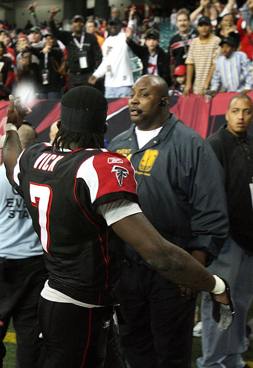 After dropping a 31-13 contest to the New Orleans Saints for his team's fourth straight loss in 2006, Falcons quarterback Michael Vick was fed up.  A series of jeers from Atlanta hecklers didn't improve his mood, prompting Vick to fire off his middle finger to the disapproving Georgia Dome fans.  The NFL quickly fired back, slamming Vick with a $10,000 fine.