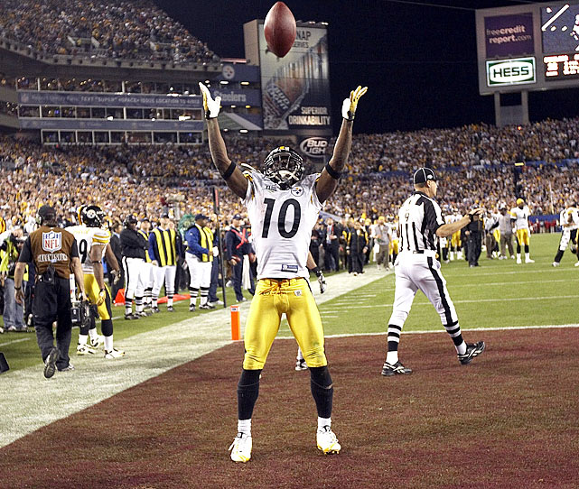 Santonio Holmes' acrobatic, toe-tapping catch to win Super Bowl XLIII goes down as one of the greatest moments in NFL playoff history.  It also is one of the costliest.  Following the grab, Holmes threw the football into the air to imitate LeBron James' pregame chalk-throwing ritual, earning the Steelers' hero a noteworthy $10,000 fine.