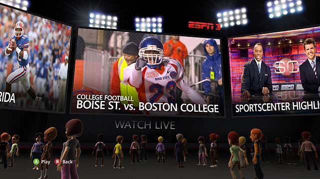 "Your Xbox is about to get a strong dose of sports programming. Scheduled to launch on November 4, a new ESPN channel in the XBL video marketplace will include access to more than 3,500 On Demand sporting events and hundreds of daily clips from ESPN.com including highlights, show clips, interviews and more. All video plays in HD (720p) and features full DVR functionality, including the ability to restart a live event from the beginning. During live games you'll also be able to predict the winner of a matchup and create a party chat with up to seven of your friends.  Overall, the channel features very intuitive navigation, allowing users to view upcoming programming and jump directly from one live game to another via an on-screen scoreboard. When Kinect launches in early November, users will also be able to use voice and gesture commands to navigate the service. (Voice commands are initiated by saying ""XBOX,"" then issuing contextual commands from options that appear on the screen.)  Other options within the ESPN service will allow users to filter content by sport and set favorite sports to customize their experience. The ESPN channel will be available for free to Xbox Live Gold members, but your ISP must be affiliated or you'll only get the daily clips. Without a doubt, pairing the ESPN channel with updates to Netflix and Zune Music really ups the entertainment heft of Xbox Live.  Score: 9.5/10"