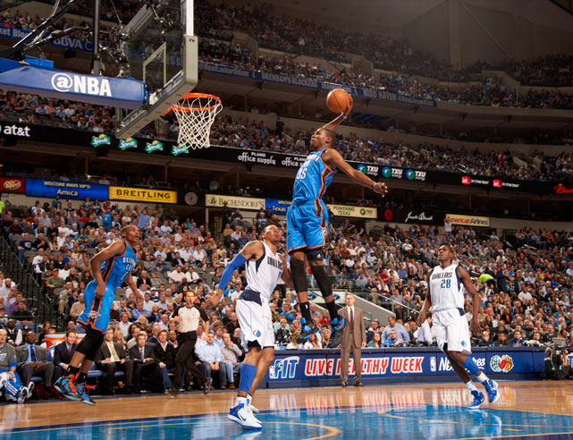 Durant skies for a breakaway dunk during a Feb. 2012 game between the Thunder and Mavs.