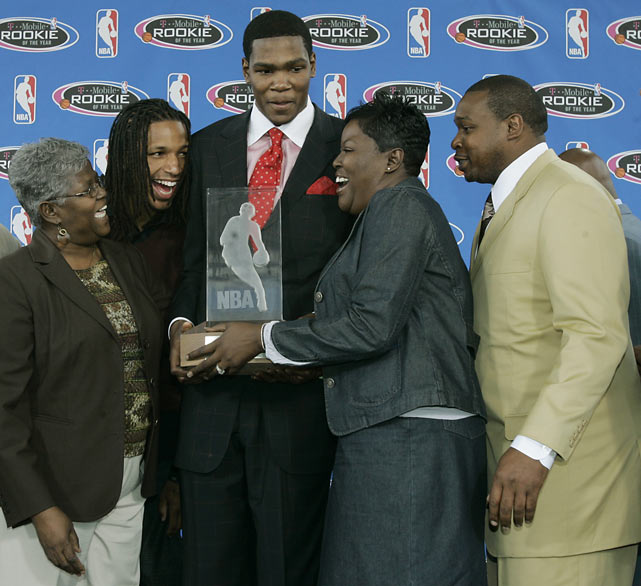 Durant proved he was worthy of the second overall pick during his prodigious 2007 campaign, shooting over 43 percent from the field though Seattle stumbled to a 20-62 record.  Here, his entourage (from left to right: grandmother Barbara Davis, friend Cliff Dixon, mother Wanda Pratt, father Wayne) helps him accept the NBA's Rookie of the Year Award.