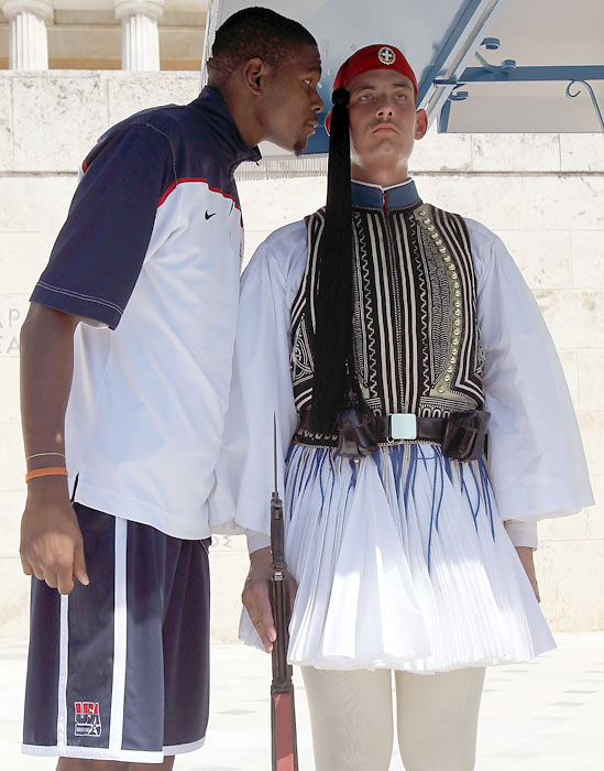 Durant engages in a staring contest with a presidential guard at the Tomb of the Unknown Soldier in central Athens.  The guard was able to maintain focus as Durant towered over him, but the Grecian National Team wasn't as lucky.  He netted 15 points en route to a 87-59 victory.