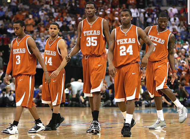 Durant leads an emboldened Texas squad into the finals of the Big 12 Championship against Kansas in 2007.  While Durant dazzled -- he racked up 32 points and nine rebounds -- his Longhorns fell short 90-86.