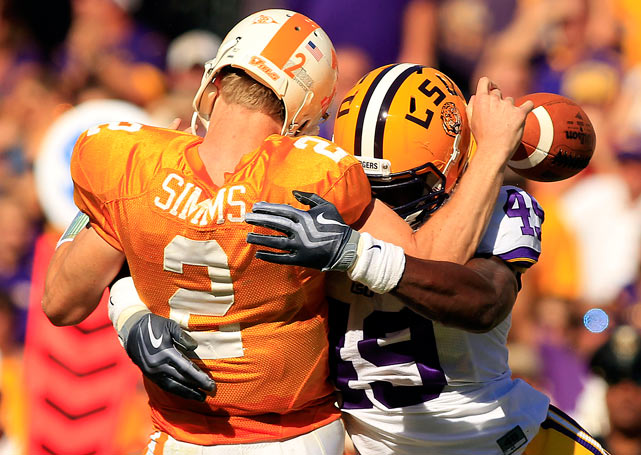Barkebious Mingo of LSU forces a fumble while sacking Tennessee quarterback Matt Simms on Oct 2 in Baton Rouge. LSU won 16-14.