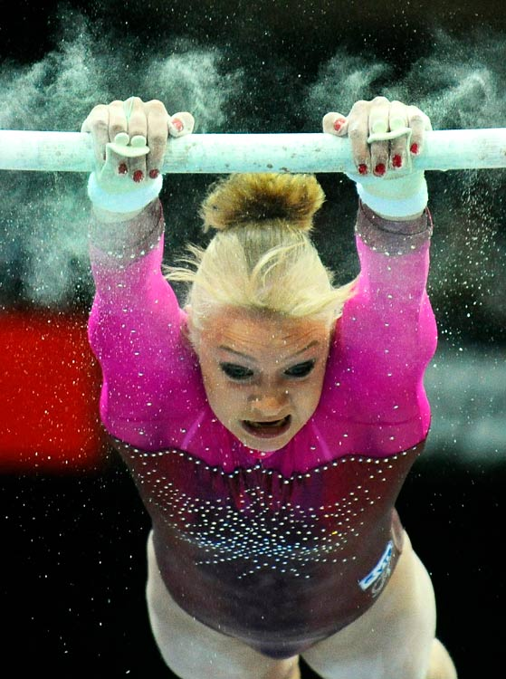 Russia's Tatiana Nabieva performs on the uneven bars in a qualifying session at the World Championships on Oct. 16 in Rotterdam.  Nabieva finished 8th and qualified for the Individual All Around.
