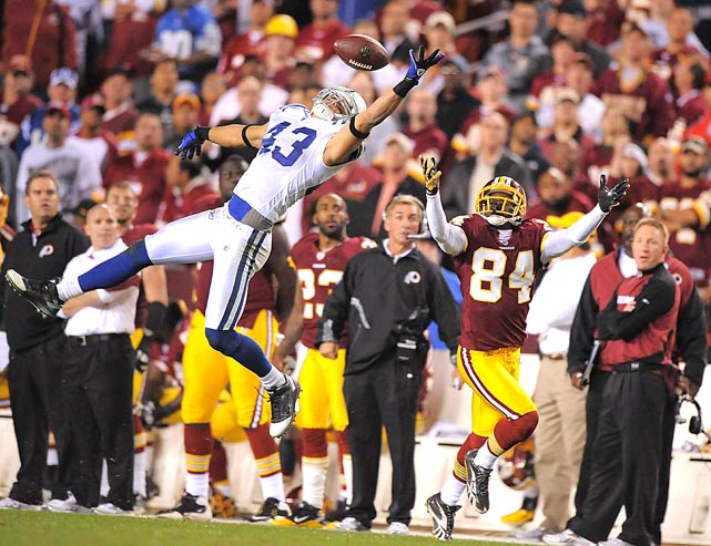 Indianapolis Colts safety Aaron Francisco intercepts a pass intended for Washington Redskins wide receiver Joey Galloway in the closing seconds of the fourth quarter at FedEx Field on Oct. 17. The Colts won 27-24.