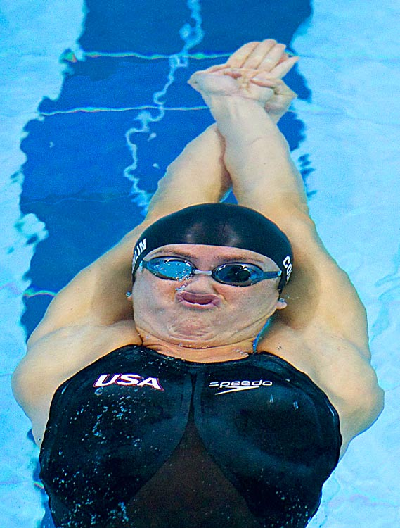 Natalie Coughlin of the United States competes in the 100m backstroke finals at the FINA Swimming World Cup on Oct. 17 in Singapore. Coughlin won the event.