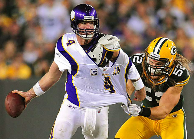 Green Bay Packers linebacker Clay Matthews tries to throw down Minnesota Vikings quarterback Brett Favre during the Packers 28-24 victory on Oct. 24 in Green Bay, Wis.