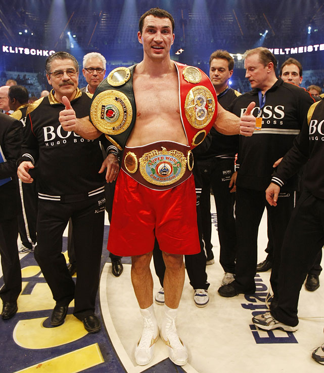 """The lineal championship in professional boxing, commonly described as """"the man who beat the man,"""" is a notional title intended to clarify the modern hodgepodge of sanctioning bodies and alphabet titles. A boxer can only win the lineal championship by defeating the previous lineal champion in the ring. If the lineal champion retires, dies or moves to another division, the vacancy is typically filled by a box-off between two or more top-ranked contenders.  The third and most recent interruption of the heavyweight lineage came in 2004, when Lennox Lewis retired and vacated the championship. Only when Wladimir Klitschko knocked out Ruslan Chagaev in June 2009, adding  The Ring  magazine title to his IBF and WBO belts, did a recognized heir to the lineage emerge.  Klitschko defended his WBA, IBF, WBO and  Ring  magazine heavyweight titles on Nov. 10 with a unanimous-decision win over Mariusz Wach at the O2 World Arena in Hamburg, Germany. It marked Klitschko's 13th title defense."""