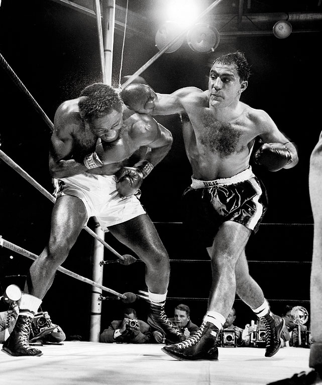 """The Brockton Blockbuster was behind on points against heavyweight champ Jersey Joe Walcott when he connected with his famous """"Suzie Q"""" in the 13th round and recorded a devastating knockout to win the title. After six defenses, he'd become the first and only heavyweight champion to retire undefeated."""