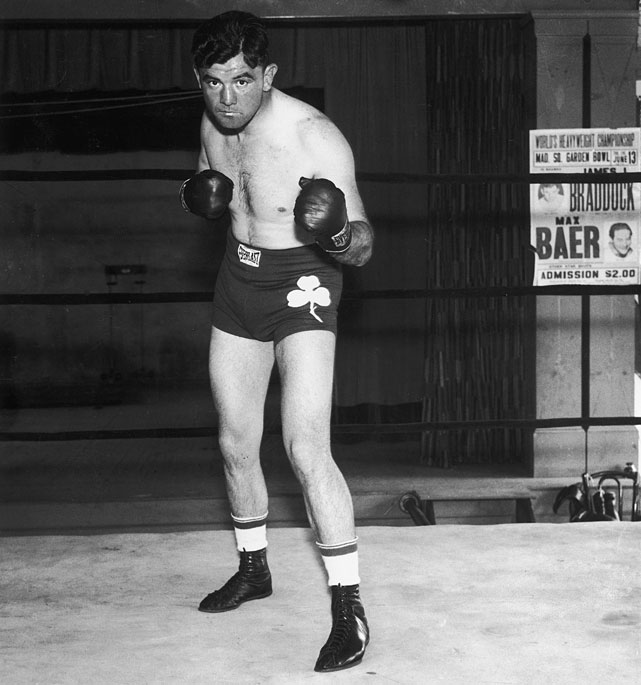 "A 10-to-1 underdog, ""The Cinderella Man"" unexpectedly defeated heavyweight champion Max Baer at the Madison Square Garden Bowl on June 13, 1935."