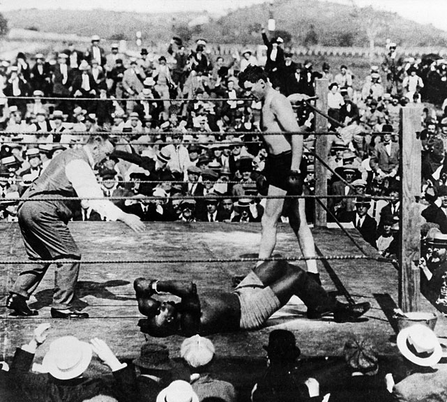 "Nicknamed ""The Great White Hope,"" Willard stopped Jack Johnson in the 26th round to win the title at Havana's Oriental Park Racetrack in 1915."