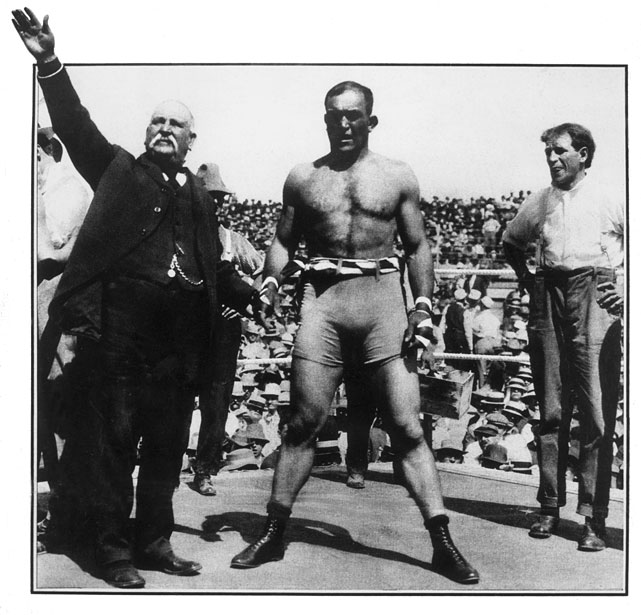 Jeffries won the title from Bob Fitzsimmons at the Coney Island Athletic Club in Brooklyn. He'd retire as champion in 1904, symbolically bequeathing the title to Marvin Hart, but came out of retirement six years later in a failed bid for Jack Johnson's title -- thus restoring the lineage.