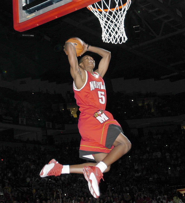Maryland's D.J. Strawberry shows off his high-flying skills during 2003 Midnight Madness.