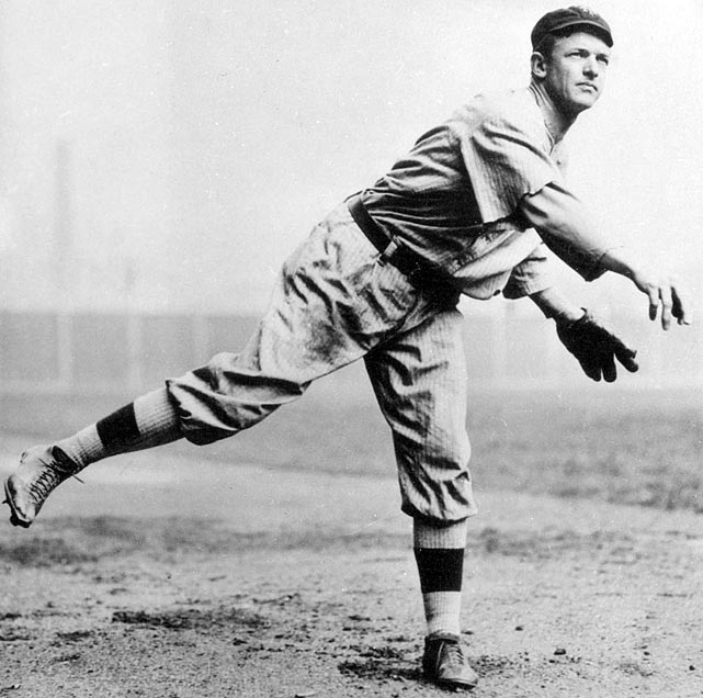 Oct 9, 1905 - WS Game 1  Line: 9.0 IP, 4 H, 0 ER, 0 BB, 6 K  In the 1905 World Series, Christy Mathewson pitched three complete games over six days, none of which were more impressive than his postseason debut.  Facing future Hall of Famer Eddie Plank, Mathewson hurled nine shutout innings of four-hit ball and cemented his status as a superstar in his own right.     Send comments to si_feedback@timeinc.com.