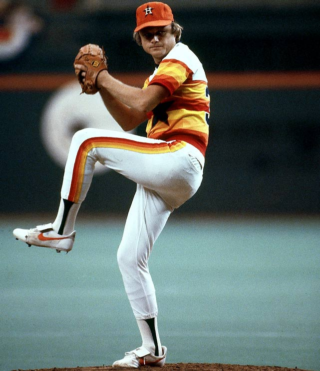 Oct 10, 1980 - NLCS Game 3   Line: 10.0 IP, 6 H, 0 ER, 1 BB, 2 K  Joe Niekro carried the Houston Astros to the playoffs in 1980. He led the team with 20 wins and a 3.55 ERA, and he had started and won the play-in game that clinched the Astros' playoff berth.  In his first appearance in the postseason, Niekro was once again the Astros' workhorse.  Using his signature knuckle ball, he fluttered his way through 10 scoreless innings against the Philadelphia Phillies, but was still saddled with a no-decision.