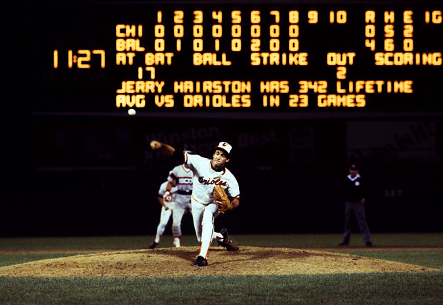 "Oct 6, 1983 - ALCS Game 2  Line: 9.0 IP, 5 H, 0 ER, 3 BB, 14 K  Never blessed with overpowering stuff, Mike Boddicker got by on guile and deception.  He threw a splendid slurve and his trademark pitch was a change-up he called ""the fosh.""  Tasked with digging the Orioles out of an 0-1 series hole, Boddicker was marvelous, pitching nine shutout innings against the White Sox and striking out 14.  Boddicker did hit two batters, but luckily for them it didn't even leave a mark."