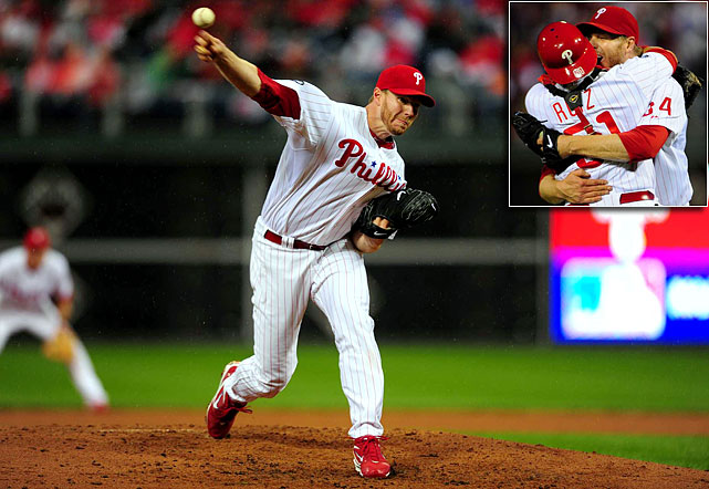 Oct 6, 2010 - NLDS Game 1   Line: 9.0, 0 H, 0 ER, 1 BB, 8 K  Roy Halladay had already proved he was the best regular season pitcher of his generation, but he longed to show he could shine under the glare of the bright postseason lights.  Halladay finally got that chance in Game 1 of the 2010 NLDS, and boy did he shine. Facing a Cincinnati Reds lineup that led the NL in hitting, Halladay hurled a no-hitter, the second in postseason history and his second of the season.