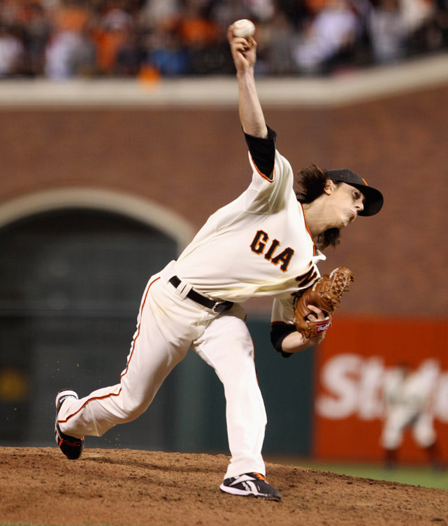 Oct 7, 2010 - NLDS Game 1   Line: 9.0, 2 H, 0 ER, 1 BB, 14 K  One day after Roy Halladay delivered the second no-hitter in postseason history, Tim Lincecum followed up with a dominant debut of his own. 'The Freak' pitched a two-hitter and tallied 14 strikeouts in the Giants' 1-0 victory in Game 1 of the NLDS. The two-time Cy Young winner's 119-pitch masterpiece lasted just two hours and 26 minutes and set a franchise record for most K's in a playoff game.