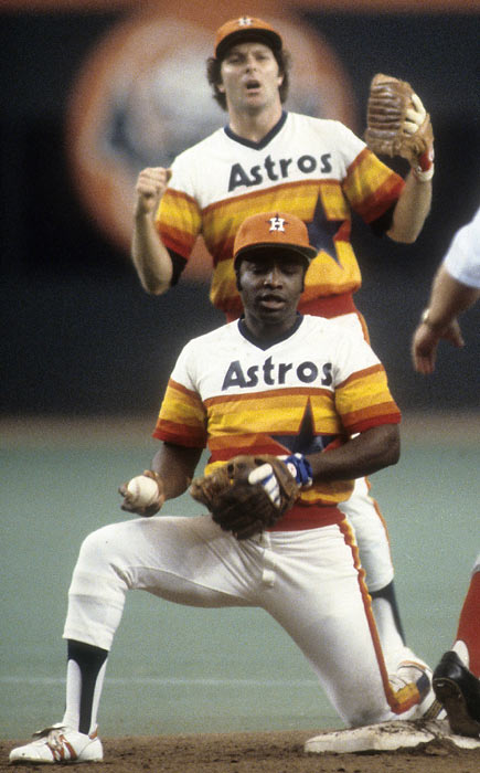 Best remembered for his playing days in Cincinnati, second baseman Joe Morgan rejoined the Houston Astros for their 1980 season, helping to a lead a young team to their first NL West division crown.  Morgan and the Astros suffered a heartbreaking loss in the final game of the NLCS, though, as the opposing Phillies eclipsed Houston 8-7 in extra innings.