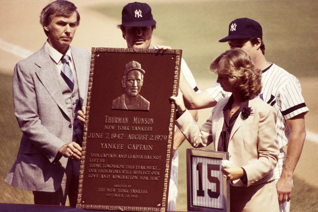 Beloved by New York teammates and fans alike, Thurman Munson led the Yankees to two World Series titles during his venerated 11-year career, earning Rookie of the Year and MVP honors along the way.  Tragically, New York's fiery captain was killed in a private plane crash on Aug. 2, 1979.  In 1980, the Yankees, and his widow Diana, honored him by retiring his number and placing his plaque in storied Monument Park.
