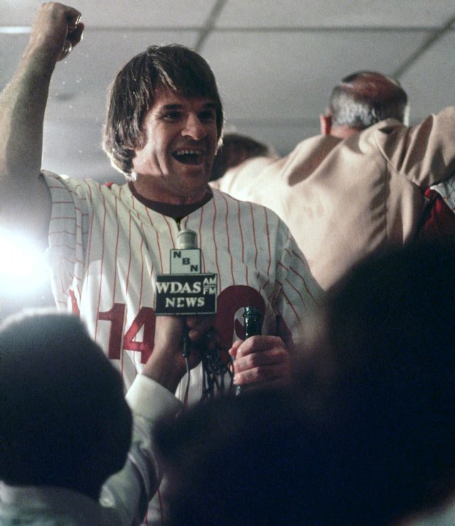 Signed to a $3.2 million free agent contract by Philadelphia in 1979, Pete Rose was a model of consistency, totaling 533 hits during his next three years in a Phillies' uniform.  He had eight base knocks in just 20 at-bats during the 1980 ALCS, a major factor why the Phillies were able to triumph over the Houston Astros in five games.