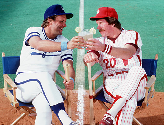 The 1980 World Series pitted George Brett against Mike Schmidt in a matchup of two of the most dominant third baseman in baseball.  Both compiled huge stats during the regular season, with Brett batting an astounding .390 and Schmidt cracking 48 home runs, as well as in the World Series, with Brett hitting .375 to Schmidt's .381.  Schmidt won the World Series MVP Award, though, as his Phillies took out Brett's Royals four games to two.