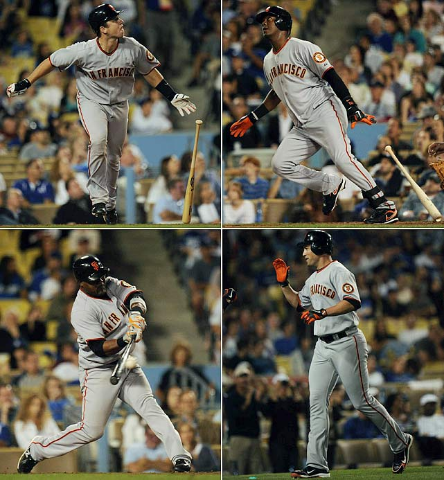 Trailing 4-0 early in Los Angeles, San Francisco rallied behind four late home runs to beat the rivals Dodgers on Sept. 4.  (Clockwise from top left) Buster Posey, Edgar Renteria and Pat Burrell all cranked solo homers before Juan Uribe launched a two-run blast off Dodgers' closer Jonathan Broxton in the top of the ninth to give the Giants a 5-4 lead and, eventually, the win.