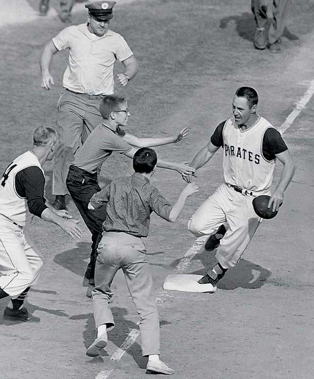 In a 1960 World Series loaded with sluggers such as Mickey Mantle, Roger Maris and Roberto Clemente, few thought Bill Mazeroski would hit one of the most storied home runs in MLB postseason history.  Yet, with the score knotted at nine in the bottom of the ninth in Game 7, it was Mazeroski who blasted a towering shot into the left field bleachers to give the Pirates a walk-off, World Series victory.  Mazeroski's homer remains one of only two round-trippers to ever clinch the Fall Classic, the other being Joe Carter's in 1993.