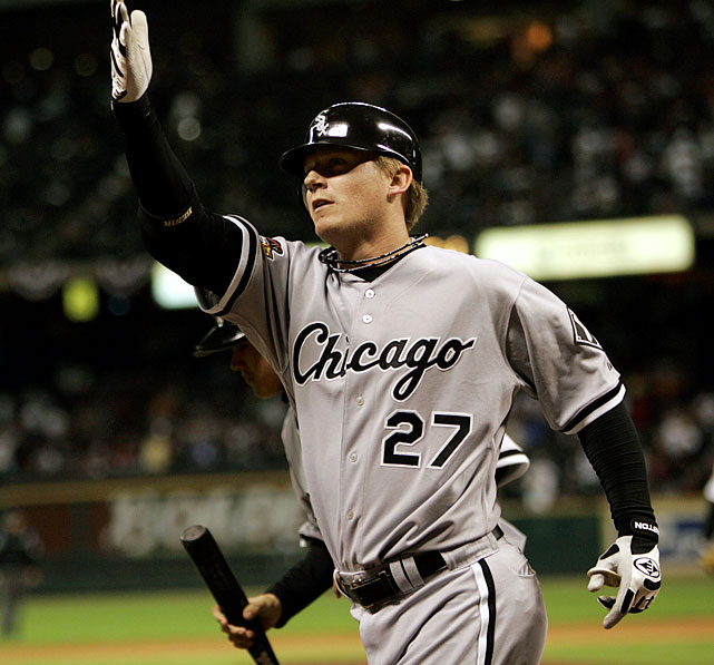 A journeyman throughout his 12 year MLB career, Chicago third baseman Geoff Blum hit just one home run for the White Sox since being acquired midway through the 2005 season.  He made his presence felt in the World Series, though, when his 14th inning solo shot off Astros pitcher Ezequiel Astacio propelled the Southsiders to a Game 3 victory and a 3-0 series lead.  The White Sox would emerge victorious in Game 4 as well, clinching their first title in 88 years.