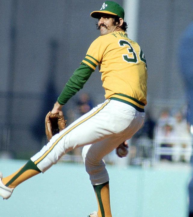 The A's made quick work of the Dodgers in 1974, taking four out of five games to win their third straight title.  That was due in large part to Rollie Fingers, who earned the win in Game 1 and saves in Games 3, 4 and 5, posting an impressive 1.93 ERA over that span.