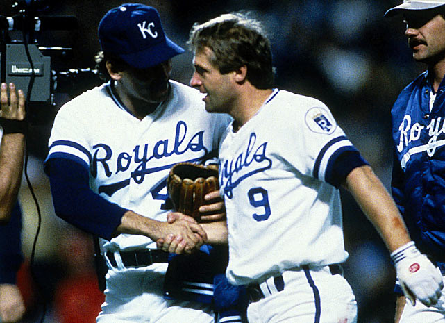 After a blown call at first base and missed pop-up by Cardinals' catcher Darrell Porter, Kansas City loaded the bases in the ninth inning of Game 6 of the 1985 Fall Classic.  St. Louis was just two outs away from winning the series when Royals' seldom-used pinch-hitter Dane Iorg slapped a single to right, plating Onix Concepcion and Jim Sundberg to give Kansas City a thrilling 2-1 walk-off win.  The inspired Royals rolled to an 11-0 victory in Game 7.