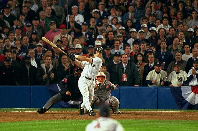 The 1998 Yankees are one of the best teams in MLB history, accumulating 114 wins during the regular season.  They rolled through the first two rounds of the playoffs as well, knocking off the Rangers 3-0 and the Indians 4-2 to earn a showdown with the streaking Padres.  They fell behind 5-2 in Game 1 heading into the seventh, when New York rallied for three runs behind a Chuck Knoblauch blast.  Five batters later, Tino Martinez smashed a mammoth grand slam into the Yankee Stadium upper deck, sending the team to a 9-6 win.  They'd cruise to victories in the next three contests as well, with Martinez batting .385 over the four-game set.