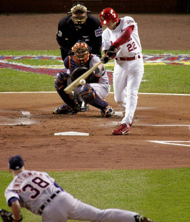 The pesky Eckstein pestered Tigers' pitchers all series, compiling eight hits during the Cardinals' five-game victory.  He was especially effective in Game 4, blasting three doubles amid a four-for-five effort at the plate.  St. Louis won the title in Game 5 and Eckstein was named World Series MVP.