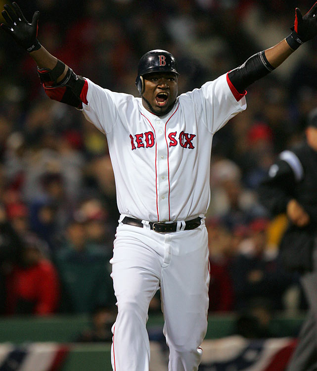 Glorified for his heroics in the preceding ALCS, David Ortiz made his presence felt immediately in the 2004 World Series.  He ripped a three-run homer in his first at-bat, staking Boston to an early 4-0 lead in Game 1. The Red Sox would never look back, blowing past the Cardinals in four straight games to claim their first World Series since 1918.  Ortiz hit .308 during Boston's historic sweep.