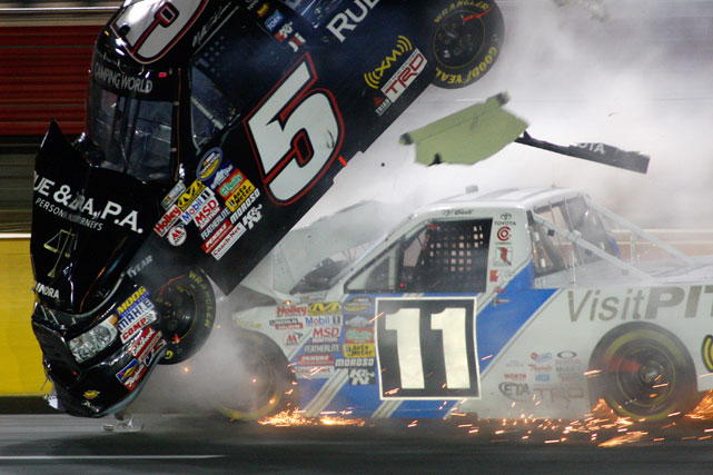 During the Education Lottery 200, Camping World Series driver Mike Skinner was involved in a heinous crash that flipped him into the wall and later onto the hood of his No. 5 Toyota. Skinner was first spun out into the grass, but then strayed into the outside wall, where he was struck by an oncoming T.J. Bell. Astonishingly, Skinner escaped with no major injuries.