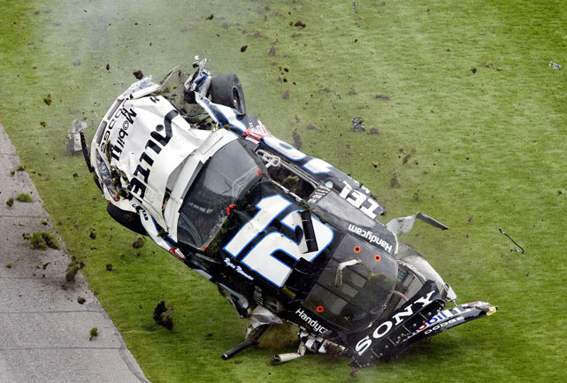 In one of Daytona's most spectacular crashes, Ryan Newman was sent airborne after a collision with Kenny Schrader. After hitting the wall, Newman lost his right rear tire, causing the car to lift off the ground and barrel roll several hundred feet. Emergency services hurried over to Newman, but the driver escaped major injury, waving at the crowd as he walked to the ambulance.