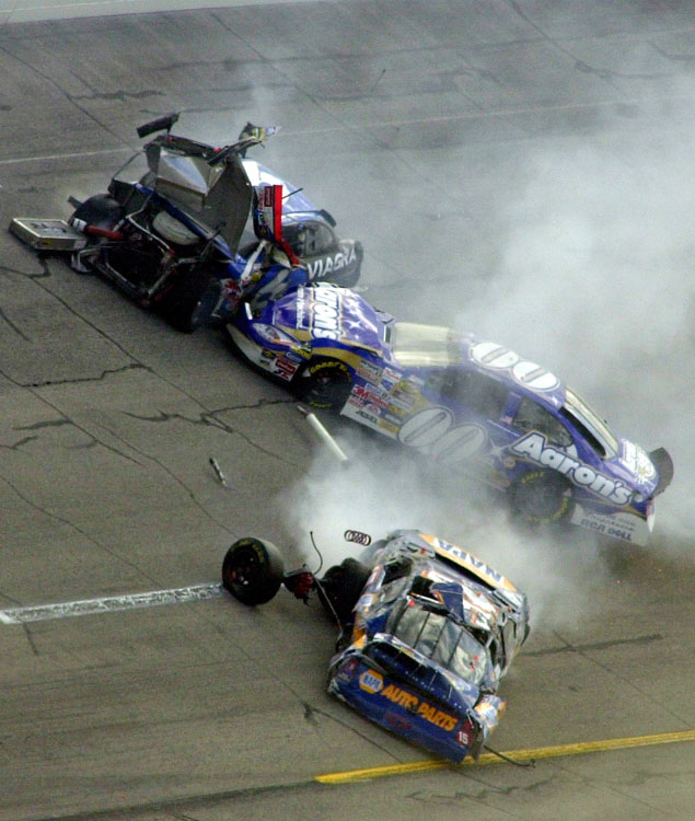While Dale Jarrett managed to avoid the pileup and win the race, Martin, Mike Skinner and Michael Waltrip weren't so lucky.