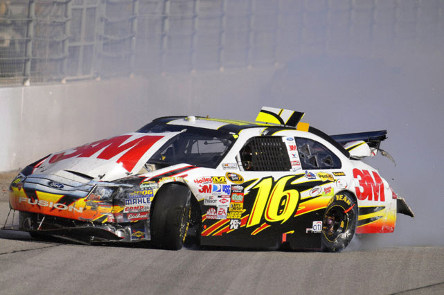 Greg Biffle's day at Atlanta was ruined when he got sent into the wall during the Kobalt Tools 500 in 2009. Running 31st, Biffle got caught in a wreck that affected several other drivers, including Jeff Burton and Scott Speed.