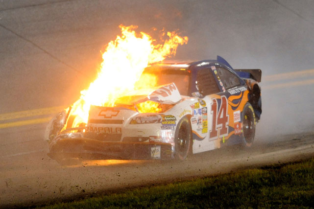 More than eight cars were involved in a massive crash at 2010's Coke Zero 400 at Daytona International Speedway. After a smaller collision in the front, the majority of the field attempted to swerve and avoid a wreck only to cause a bigger accident that knocked out close to half the field. Tony Stewart's car was involved in the wreck, caught on fire and ultimately came to rest in the grass.