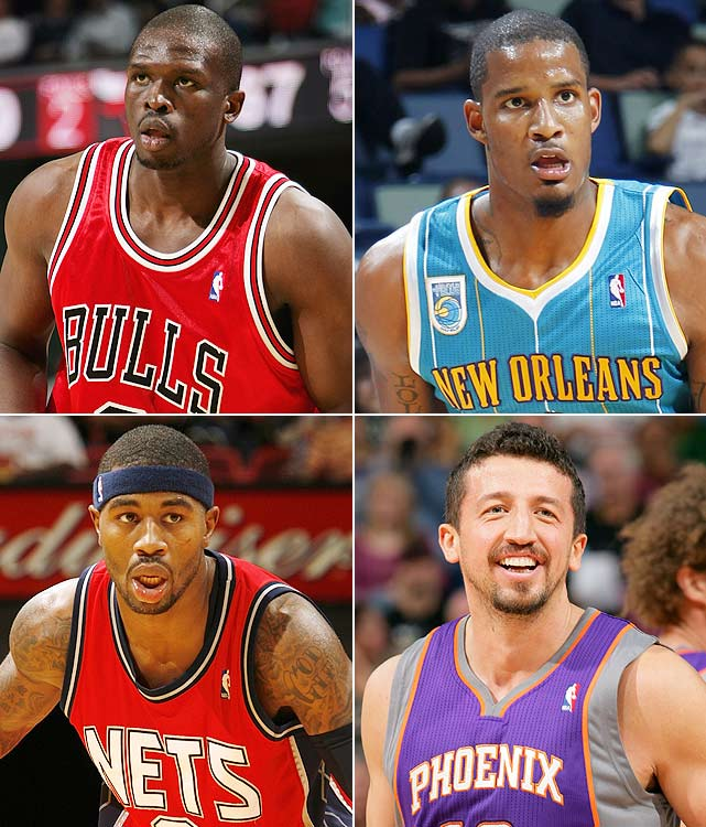 Late in the draft, you're looking for a small forward who can hit three-pointers and get your team some valuable steals.  Luol Deng, now the longest-tenured Chicago Bull, doesn't hit many threes, but he does contribute in steals and rebounds, which you can never have enough of.  Rumor has it he was working on his shot in the offseason, too.  Miscast as a primary scoring option in Houston, Trevor Ariza has found a better fit for his skill set alongside Chris Paul in New Orleans.  With Paul dishing him the rock, Ariza should continue to hit three-pointers at a great rate.  Terrence Williams can do it all.  He can rebound, get to the basket, run the point and even nab a steal or so a game.  With Courtney Lee in Houston, Williams should have ample opportunity to show what he can do.  Playing with Steve Nash does wonders for your fantasy value and Hedo Turkoglu will find that out this season.  He has the potential to be a top 10 small forward.