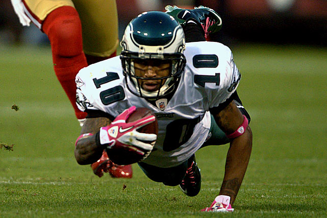 Though DeSean Jackson  has emerged as the NFL's premier big-play receiver, the Eagles are in no rush to give him a raise.   The 2008 second-round pick out of California tied the record for most touchdowns of over 50 yards (eight) last year, and in the process he was named to the Pro Bowl as a wide receiver and kick returner.  And yet, Jackson still makes $150,000 less than fellow wide receiver Jeremy Maclin, who still hasn't made a Pro Bowl.