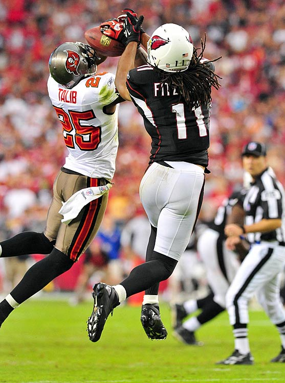 The former Kansas standout gave Arizona quarterbacks fits in Week 8, starting with his second-quarter pick six.  Talib launched into the air, reining in a Max Hall toss en route to a 45-yard touchdown.  Cardinals' coach Ken Whisenhunt pulled Hall for Derek Anderson in the second quarter -- a reversal of his decision earlier in the season -- but he succumbed to Talib as well.  Talib intercepted Anderson's pass late in the fourth to seal the Bucs' 38-35 win.