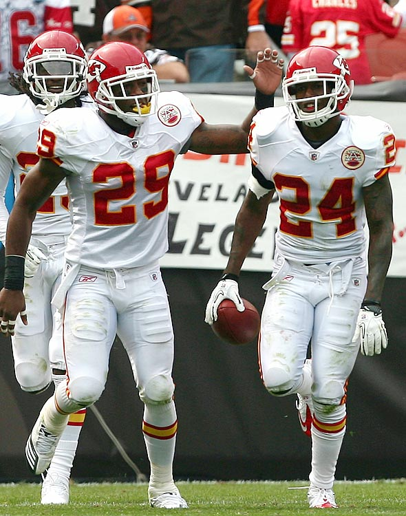 Brandon Flowers jumped Browns' receiver Chansi Stuckey's route midway through the second quarter of their Week 2 matchup, grabbing Seneca Wallace's pass and running 33 yards for a score.  The points were crucial in a narrow 16-14 Kansas City victory.