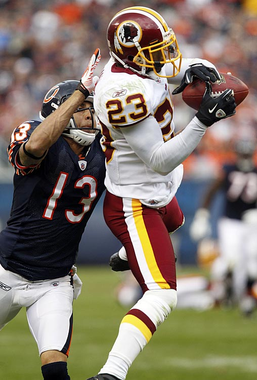 "DeAngelo Hall had a game to remember on Oct. 24, intercepting Bears' quarterback Jay Cutler an astounding four times in Washington's ugly 17-14 victory.  His crown jewel came in the third quarter, when he snared a jump ball and galloped 92 yards down the sideline for the game-winning score.  ""It's kind of mind-blowing,"" Hall would say later."
