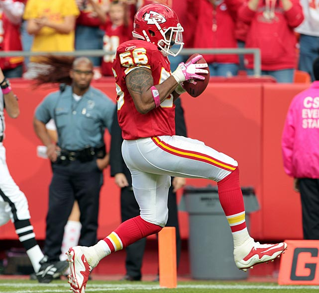 The centerpiece of Kansas City's revamped defense, linebacker Derrick Johnson showcased his talents in Week 7 against the Jaguars.  He leaped to bring down Jacksonville quarterback Todd Bouman's pass before bursting 15 yards across the goal line, breaking open a then 21-20 game.  Kansas City won 42-20, improving its record to 4-2.