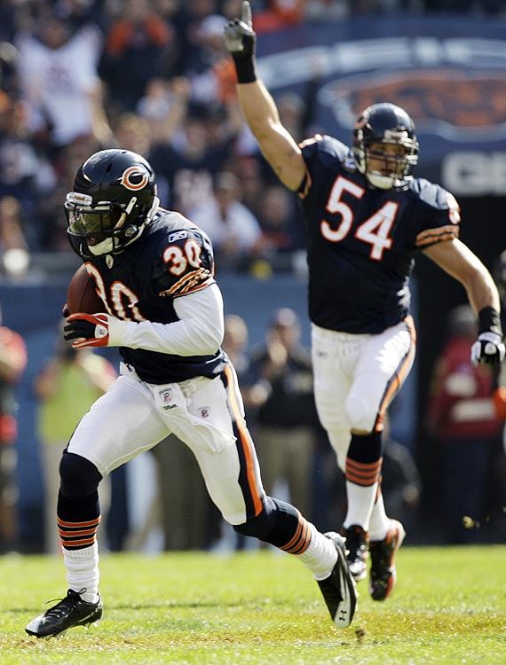 Bears' cornerback D.J. Moore had one of the prettiest pick sixes of the season in Week 7, cradling a batted ball by Israel Idonije before dashing 54 yards to the house.  The tremendous play gave Chicago a 7-0 lead over Washington, something it would watch evaporate behind Jay Cutler's four interceptions.